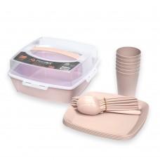 Набор посуды для пикника Irak Plastik SP-180, Кремовый