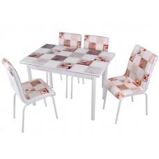 Комплект обеденной мебели Мрамор (раскладной стол 110*70 см и 4 стула)