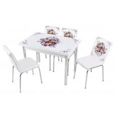 Комплект обеденной мебели Букет (раскладной стол 110*70 см и 4 стула)