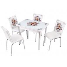 Комплект обеденной мебели Букет (раскладной стол 90*60 см и 4 стула)