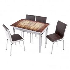 Комплект обеденной мебели Дерево (раскладной стол 110*70 см и 4 стула)