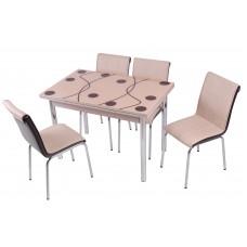 Комплект обеденной мебели Капучино (раскладной стол 110*70 см и 4 стула)
