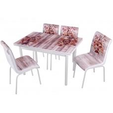 Комплект обеденной мебели Коричневая Азалия (раскладной стол 110*70 см и 4 стула)