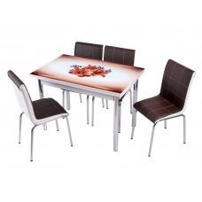 Комплект обеденной мебели Коричневая Орхидея (раскладной стол 110*70 см и 4 стула)