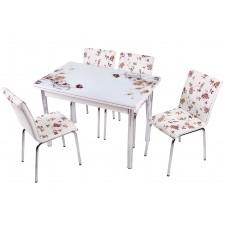 Комплект обеденной мебели Коричневый Цветок (раскладной стол 110*70 см и 4 стула)
