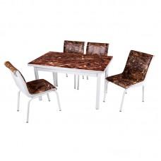 Комплект обеденной мебели Коричневый Мрамор (раскладной стол 110*70 см и 4 стула)