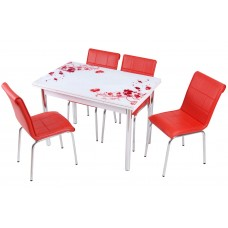 Комплект обеденной мебели Красный Цветок (раскладной стол 110*70 см и 4 стула)