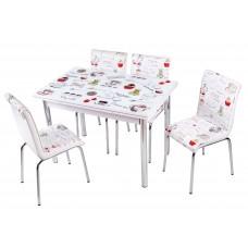 Комплект обеденной мебели Латте (раскладной стол 110*70 см и 4 стула)