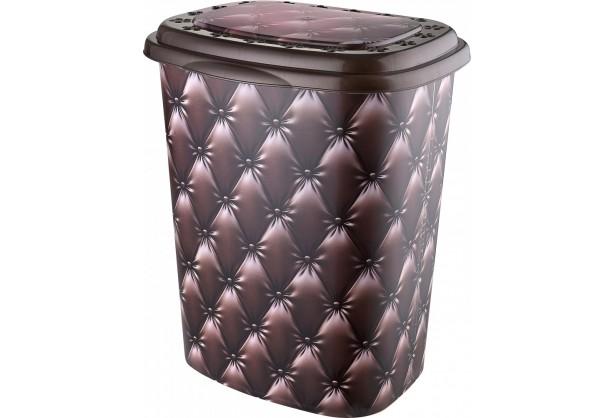 Корзина для белья с крышкой 45 л Elif Plastik 339, Кожа коричневая