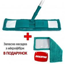 Швабра для пола с микрофиброй DUO Feniks, Белый/Бирюзовый
