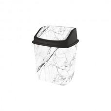 Мусорное ведро 7 л Elif Plastik 341, Белый мрамор