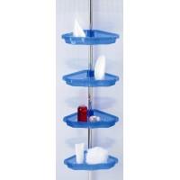 Полка для ванной 4 яруса угловая Prima Nova N17, Прозрачно-синий