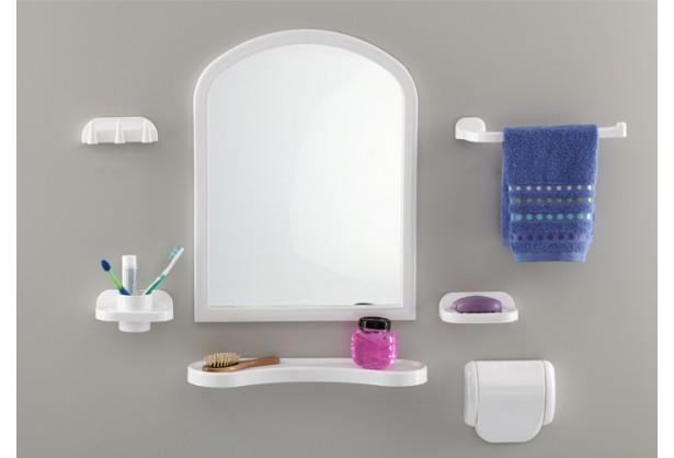 """Зеркало для ванной с аксессуарами 1+6 """"Aqua"""" Tombo TP-2001"""